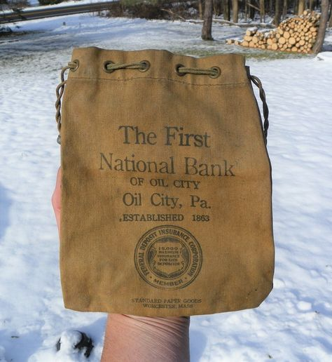Vintage The First National Bank Of Oil City Pa Money Deposit Bag Oil City Deposit Bags Paper Goods