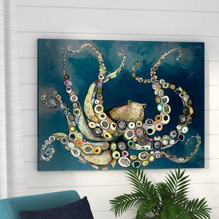 East Urban Home Greater Less Than 5 Textual Art On Canvas In White And Blue Wayfair Coastal Wall Art Art Decor Octopus Painting