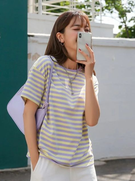 DAZY Striped Drop Shoulder Tee