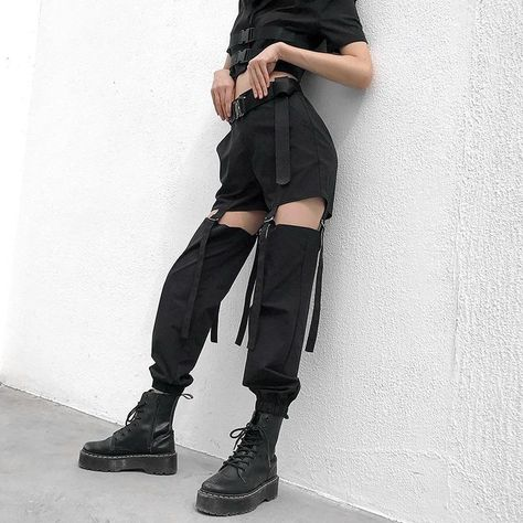 Hollow Buckle Cargo Pant-Cargo Chic