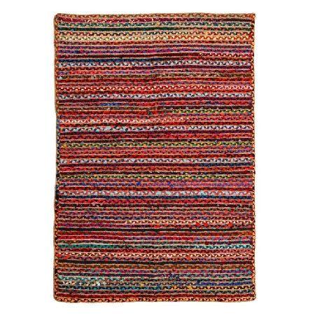 Alfombra en yute multicolor.Composición: 30%algodón 70%yute