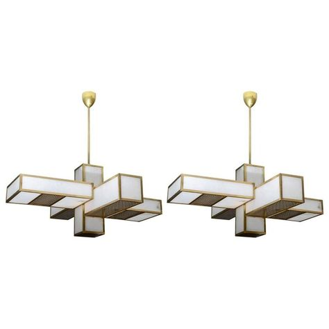 Glustin Luminaires Creation Geometrical Brass And Alabaster