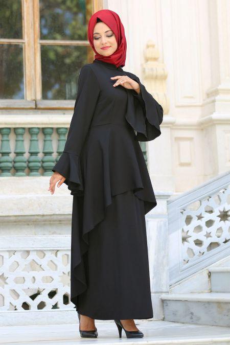 Neva Style Volanli Siyah Tesettur Elbise 41540s Tesetturisland Com The Dress Elbise Stil