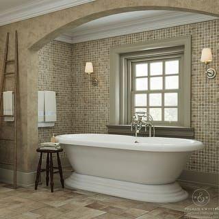 Pelham White Luxury 60 Inch Vintage Pedestal Tub With Nickel