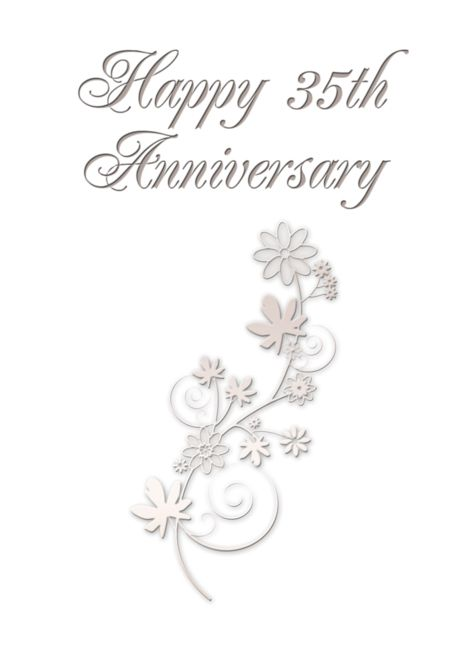 Happy 35th Anniversary Flowers On White Background Card Ad Affilia 10th Anniversary Party Invitations Anniversary Party Invitations Happy 40th Anniversary