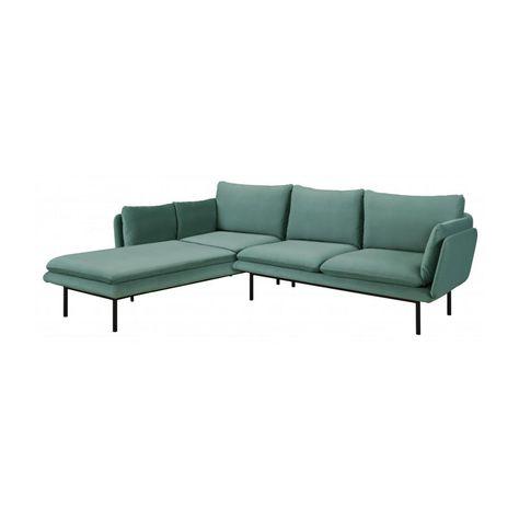 Riva 2 Sitzer Sofa Aus Samt Mit Chaiselongue Links Hellblau 2 Sitzer Sofa Sofa Chaiselongue