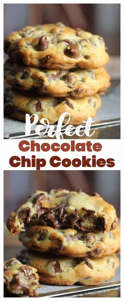 These 'perfect' chocolate chip cookies are completely buttery, chewy, thick and chocked full of rich, semi-sweet chocolate chips. #cookies #chocolate #chocolatechip #desserts #baking #chocolatechipcookies #bestchocolatechipcookies #perfectchocolatechipcookies #howtomakethebestcookies