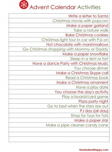 Advent Calendar Activity Ideas