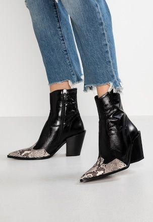 Howdie Western Boot Cowboy Bikerstiefelette Black Topshop Schuhe Topshop Stiefel