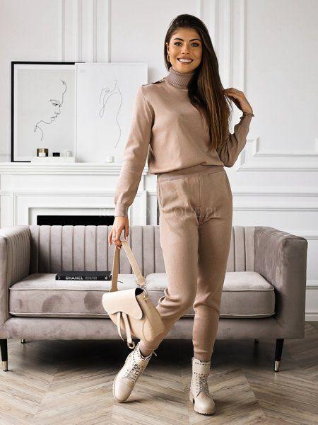 Bezowy Komplet Sweter Z Guzikami I Spodnie Normcore Fashion Style