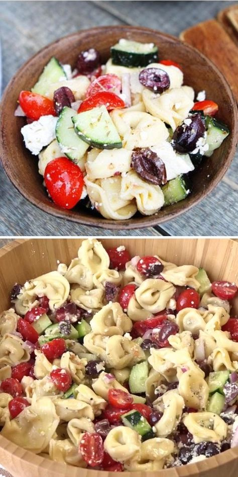 Greek Tortellini Salad is made with cheese tortellini, vegetables, feta cheese, and Greek dressing. This healthy dinner idea is filling and easy to make. The bonus part? It can be made ahead of time and store in your fridge for a couple of days! Pin this healthy tasty recipe!