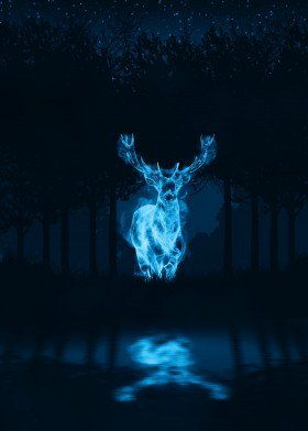 Deer Poster Print By Apocalypticaboy Displate In 2020 Harry Potter Painting Harry Potter Wallpaper Harry Potter Background