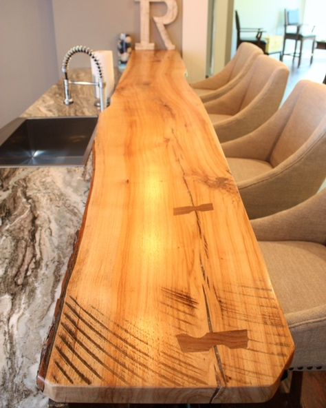 Eutree Forest Free White Oak Live Edge Artisan Wood Slab Bar Top Fabricated By What Wood You Like Wood Slab Live Edge Furniture Live Edge Wood