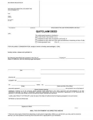 46 Free Quit Claim Deed Forms Templates ᐅ With Images