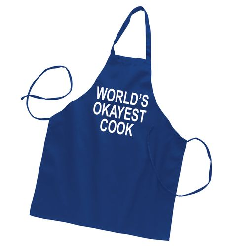 Worlds Okayest Cook Novelty Grilling Apron Funny Barbeque Kitchen Chef BBQ Fun