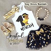 African American Sunflower 1st Birthday Tutu Outfit - Black and Gold First Birthday Tutu Set