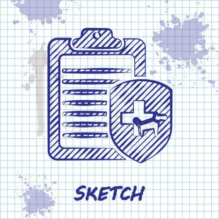 Sketch Line Clipboard With Medical Clinical Record Pet Icon