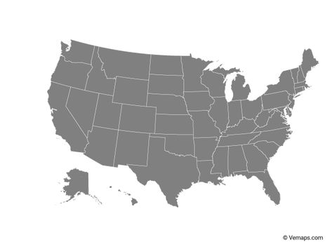 Grey Map of United States with States | United states map ...
