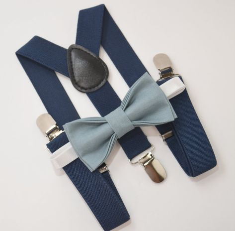 Bow Tie & Suspenders SET / SLATE Blue Dusty Blue Bow Tie / Navy Blue Suspenders / Kids Mens Baby Wedding Page Boy 6 months - Adult Set