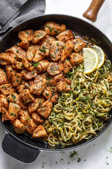 Garlic Butter Chicken Bites with Lemon Zucchini Noodles - They're so juicy, tender, and delicious you'll eat them hot right off the pan! Ready for a new chicken dinner winner? yummy dinner foodies Garlic Butter Chicken Bites with Lemon Zucchini Noodles Lemon Zucchini, Zucchini Chips, Garlic Butter Chicken, Healthy Butter Chicken Recipe, Garlic Butter Noodles, Garlic Butter Sauce, Chicken Breast Recipes Healthy, Chicken Bites, Zucchini Noodles