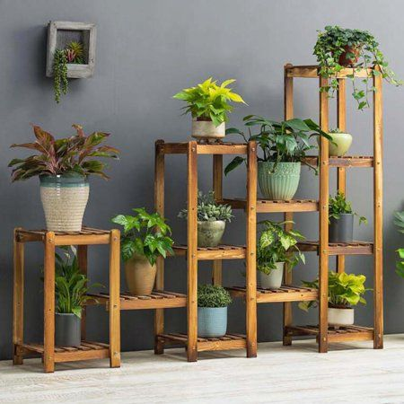 Flower Rack Plant Stand Multi Wood Shelves Display Shelf Indoor Outdoor Yard Garden Patio Balcony Storage Rack 12 Pots Walmart Com Plant Stand Plant Stand Indoor Wooden Plant Stands