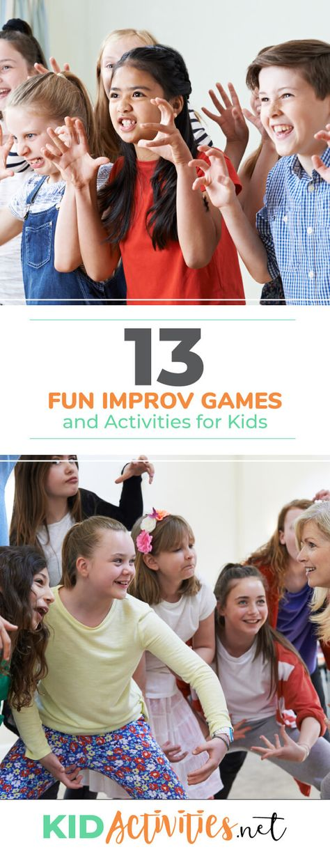 A collection of fun improv games and activities for kids. These are great for any drama program. Plenty of fun and entertainment are sure to ensue. activities 13 Fun Improv Games and Exercises for Kids Improv Games For Kids, Drama Games For Kids, Fitness Games For Kids, English Games For Kids, Games For Kids Classroom, Camping Games Kids, Drama Activities, Indoor Games For Kids, Act For Kids