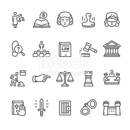Law Legal System Court Related Vector Icon Set Law Logos Design Law Icon Law Tattoo