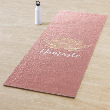 Yoga Studio Meditation Reiki Instructor Gold Lotus Yoga Mat Zazzle Com In 2020 Lotus Yoga Custom Yoga Mat Gold Lotus