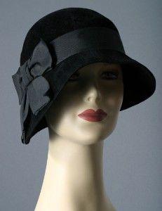 Black Cloche hat  Romantic winter autumn small brim women black hat millinery 1920 style cloche hat  Fashion