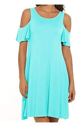 b4b5312880d75d PCEAIIH Women s Summer Cold Shoulder Tunic Top Swing T-Shirt Loose Dress  with Pockets