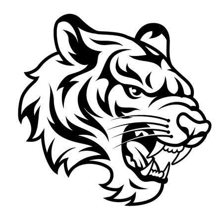 Roaring Tiger S Head Isolated On White Black And White Vector Tiger Sketch Tiger Drawing Tiger Artwork