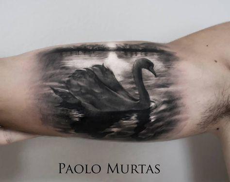 http://tattooideas247.com/grey-swan/ Grey Swan #ARM, #Lake, #Swan
