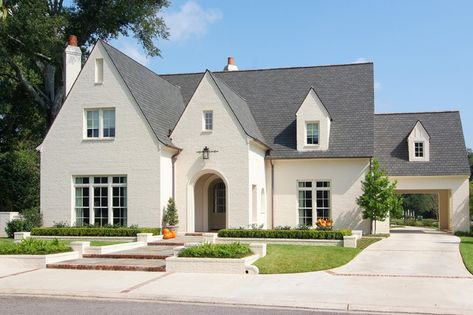 The Best Exterior White Colors for Painted Brick Homes - Happy Haute Home