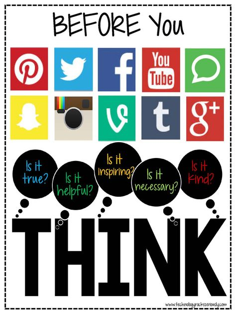 A fun way to remind students to be smart while being a Digital citizen! Remember the THINK acronym. True, Helpful, Inspiring, Necessary, Kind. Think Poster, Think Before You Post, Social Media Safety, Cyber Safety, Digital Footprint, Internet Safety, Curriculum, Digital Literacy, Media Literacy