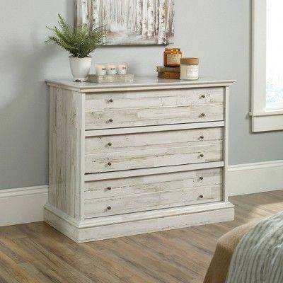 3 Drawer Barrister Lane Chest White Plank Sauder White Chests