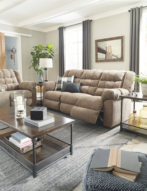 Signature Design by Ashley® Workhorse Reclining Sofa, Color: Cocoa - JCPenney Condo Living Room, Living Room Grey, Living Room Sets, Living Room Decor, Apartment Living, Ashley Furniture Sofas, Pur Sang, Living Room Color Schemes, Reclining Sofa