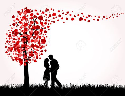 Man, Woman And Love Tree With Hearts On A Grass, Illustration ...