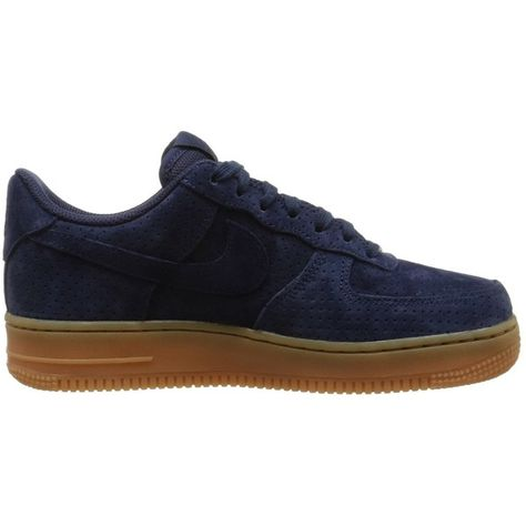 super popular d3175 35971 Nike Women s Air Force 1 07  Suede Midnight Navy 749263-400 ( 95) ❤ liked  on Polyvore featuring shoes, navy suede shoes, suede leather shoes, suede  shoes, ...