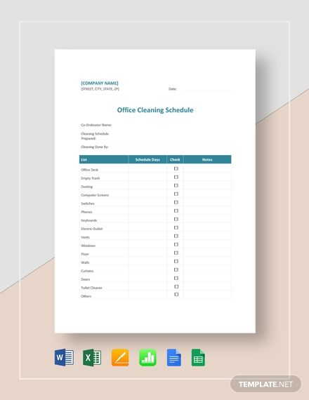 Office Cleaning Schedule Cleaning Schedule Templates Clean