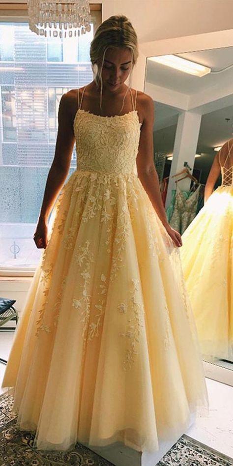 Cute daffodil spaghetti straps tulle prom dress for teenager girls. #yesbabyonline #prom #yellow #trendingonpinterest #ideaforprom