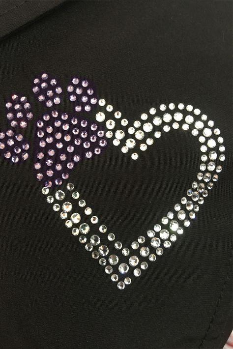 Paw print & Heart- Purple