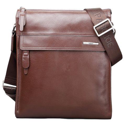 Pabojoe Mens Handbag Shoulder Messenger Bag Genuine Leather Business Casual Handbag for Travel