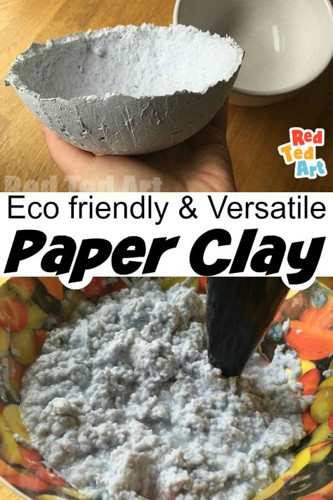 How to Make Paper Clay - 8 Step process with photos and video. Learn how to make this great paper clay from shredded paper or newspapers. This is an eco friendly recipe, that is super thrifty and yet fun and versatile. The real best out of waste and a great medium to work with especially at home or in the classroom. Paper Clay is amazing! #paperprojects #papercrafts #paper #paperclay