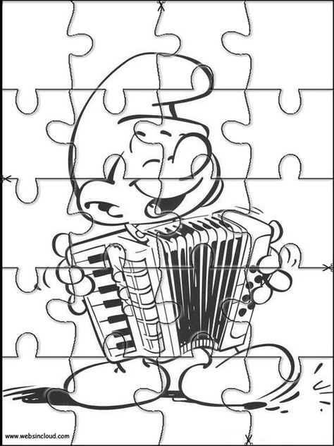 Printable jigsaw puzzles to cut out for kids Smurfs 7 Coloring Pages