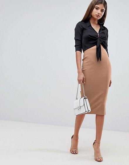 7e91731d5 Vestido de tubo largo con cintura alta de ASOS DESIGN | Outfit en ...