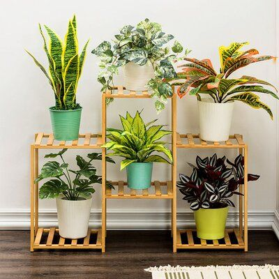 Kerrogee Bamboo Plant Stand Size 23 5 H X 32 5 W X 15 5 D In