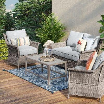 Foxborough 2pk Patio Club Chair Gray Threshold Conversation