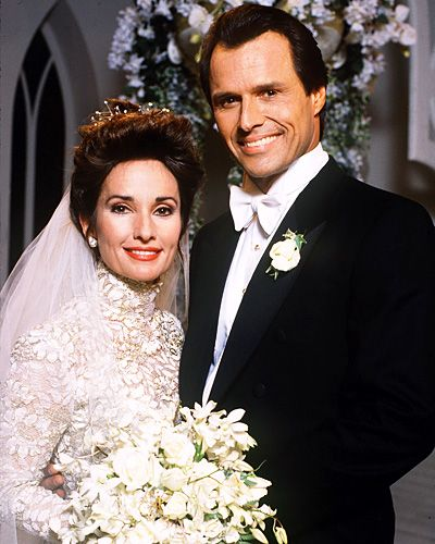 All My Children's Erica Kane  Erica wore a turtleneck, textured white gown when she married Dimitri Marick (Michael Nader) in 1993.