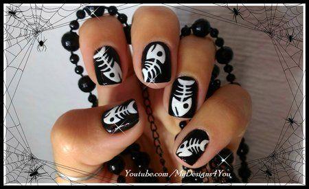 Halloween fish bones nail art design https://www.makeupbee.com/look.php?look_id=98642