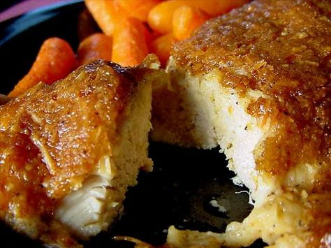 Melt in Your Mouth Chicken Breast, 1/2 c parmesan cheese,1 c mayo, 1 tsp garlic powder, 1 1/2 tsp seasoning salt 1/2 tsp pepper,spread mix over chicken breasts, bake at 375 45 mins